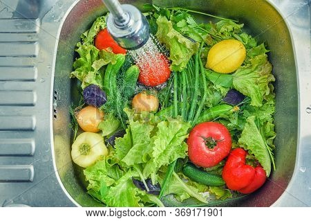 Purchased Vegetables In The Store Need To Be Washed Before Meals. Photo Of Vegetables Kitchen Sink I