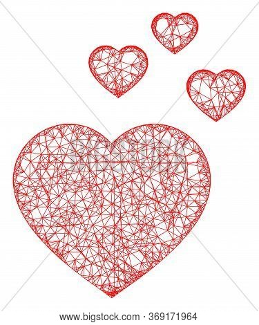 Web Mesh Favorite Hearts Vector Icon. Flat 2d Carcass Created From Favorite Hearts Pictogram. Abstra