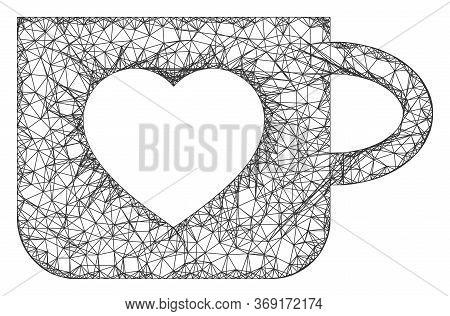 Web Mesh Favourite Cup Vector Icon. Flat 2d Carcass Created From Favourite Cup Pictogram. Abstract F