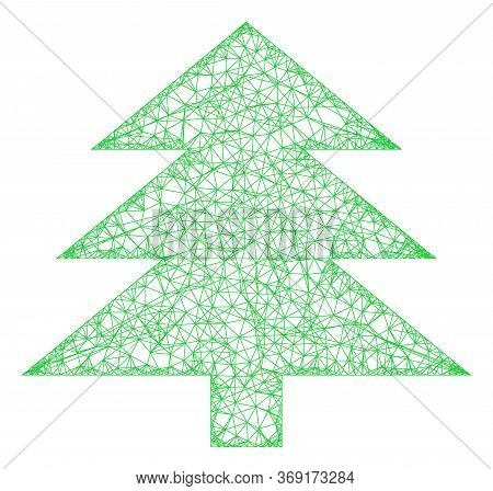 Web Net Fir Tree Vector Icon. Flat 2d Carcass Created From Fir Tree Pictogram. Abstract Frame Mesh P