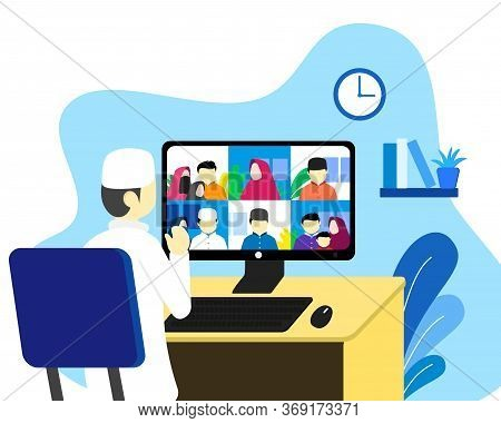 Eid Al Fitr Reunion Stay At Home Using Video Call Or Teleconference Due To Covid-19 Outbreak. Social