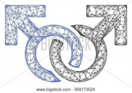 Web Mesh Gay Pair Symbol Vector Icon. Flat 2d Carcass Created From Gay Pair Symbol Pictogram. Abstra