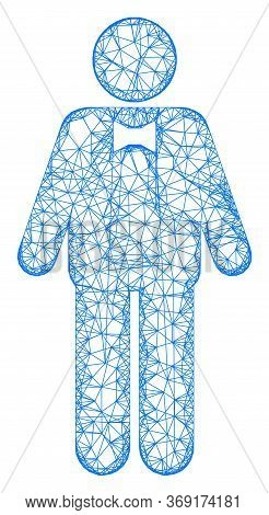Web Network Groom Vector Icon. Flat 2d Carcass Created From Groom Pictogram. Abstract Carcass Mesh P