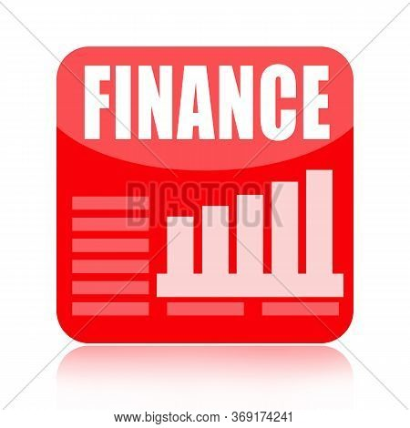 Finance Red Glossy Business Icon With Business Charts Isolated On White  Background