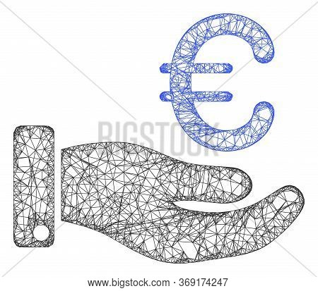 Web Network Hand Give Euro Vector Icon. Flat 2d Carcass Created From Hand Give Euro Pictogram. Abstr