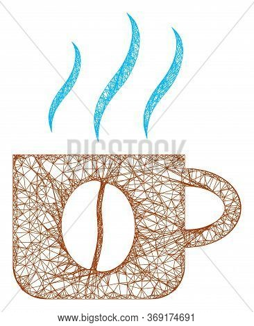 Web Mesh Hot Coffee Cup Vector Icon. Flat 2d Model Created From Hot Coffee Cup Pictogram. Abstract F