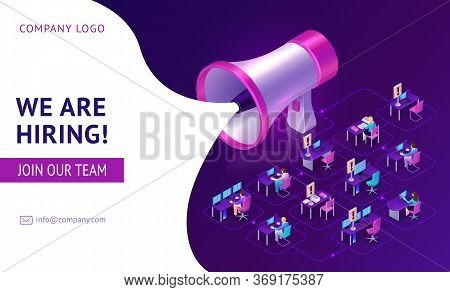 Hiring Agency Isometric Landing Page With Huge Megaphone And People Working In Office With Vacant Pl