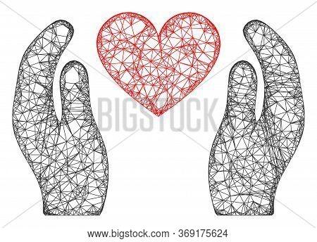 Web Net Love Heart Care Hands Vector Icon. Flat 2d Carcass Created From Love Heart Care Hands Pictog
