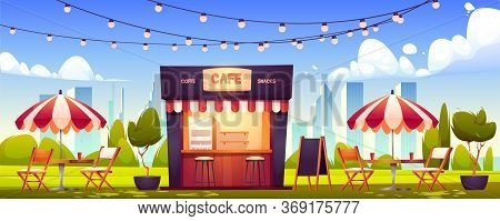 Outdoor Cafe, Summer Booth In Park, Coffeehouse Stall With Street Food Drinks And Snacks, Cafeteria
