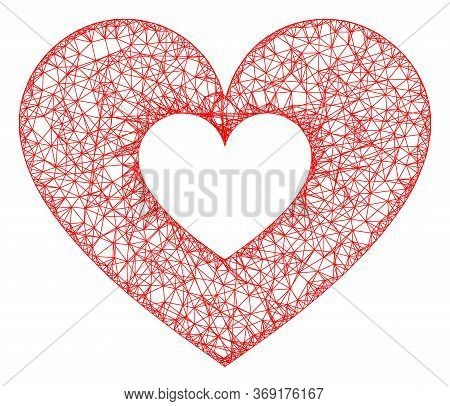 Web Mesh Love Heart Vector Icon. Flat 2d Model Created From Love Heart Pictogram. Abstract Frame Mes