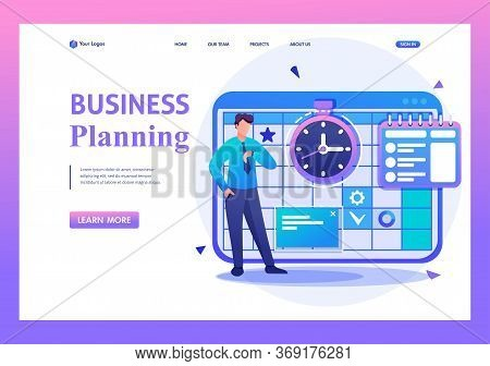 Entrepreneur Plans The Time For Calendar For The Month. Flat 2d Character. Landing Page Concepts And