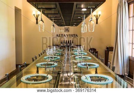 Mendoza, Argentina - January 24, 2019: Sommelier Wine Tasting Room At Alta Vista