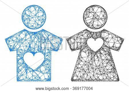 Web Mesh Lovers Pair Vector Icon. Flat 2d Carcass Created From Lovers Pair Pictogram. Abstract Carca