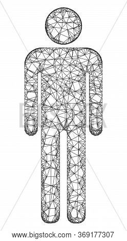 Web Mesh Man Figure Vector Icon. Flat 2d Carcass Created From Man Figure Pictogram. Abstract Frame M