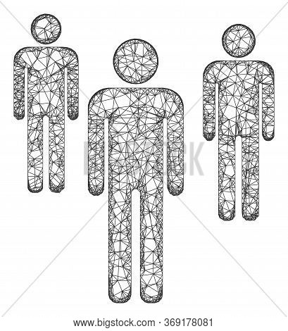 Web Mesh Men Figures Vector Icon. Flat 2d Carcass Created From Men Figures Pictogram. Abstract Carca