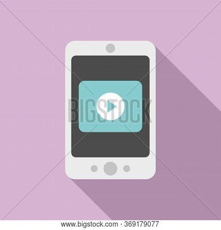 Smartphone Video Lesson Icon. Flat Illustration Of Smartphone Video Lesson Vector Icon For Web Desig