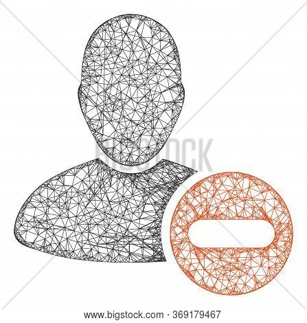Web Mesh Remove User Vector Icon. Flat 2d Carcass Created From Remove User Pictogram. Abstract Carca