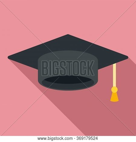 Graduation Hat Icon. Flat Illustration Of Graduation Hat Vector Icon For Web Design