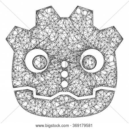 Web Mesh Robot Head Vector Icon. Flat 2d Carcass Created From Robot Head Pictogram. Abstract Frame M