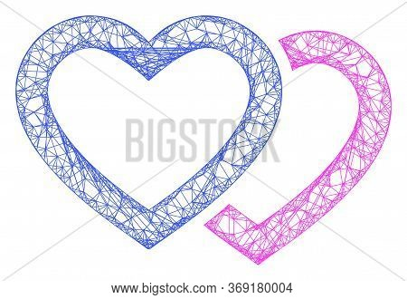 Web Mesh Romantic Hearts Vector Icon. Flat 2d Carcass Created From Romantic Hearts Pictogram. Abstra