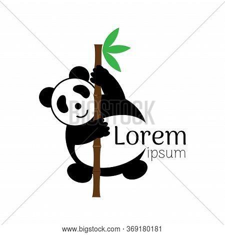 Panda Head Logo. Cute Panda Character Vector In Black And White.
