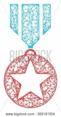 Web Mesh Star Medal Vector Icon. Flat 2d Carcass Created From Star Medal Pictogram. Abstract Frame M