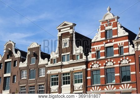 Amsterdam City Architecture - Oude Turfmarkt Residential Buildings. Netherlands Rowhouse.