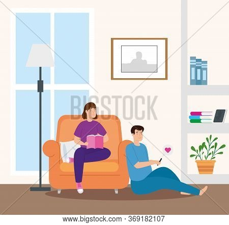 Young Couple Reading Book In Livingroom Vector Illustration Design
