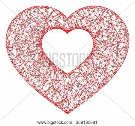 Web Mesh Valentine Heart Vector Icon. Flat 2d Carcass Created From Valentine Heart Pictogram. Abstra