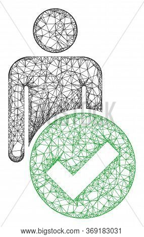 Web Network Valid Man Figure Vector Icon. Flat 2d Carcass Created From Valid Man Figure Pictogram. A