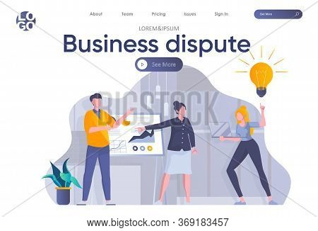 Business Dispute Landing Page With Header. Team Of Colleagues Discussing Project Near Whiteboard Wit