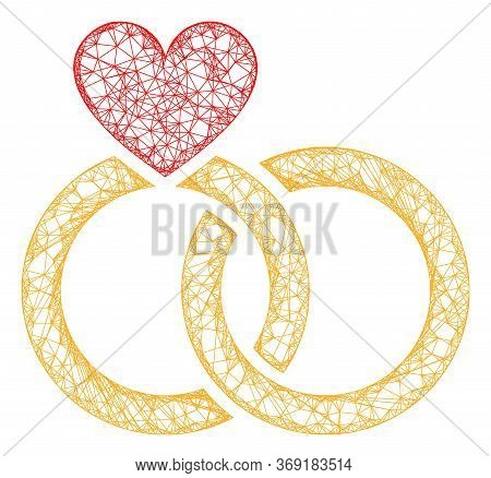 Web Mesh Wedding Rings Vector Icon. Flat 2d Carcass Created From Wedding Rings Pictogram. Abstract F