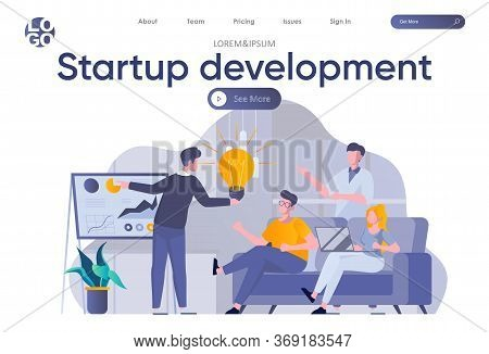 Startup Development Landing Page With Header. Startup Founders Planning Strategy And Goals For Proje