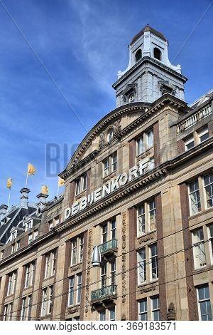 Amsterdam, Netherlands - July 9, 2017: De Bijenkorf Flagship Department Store In Amsterdam, Netherla