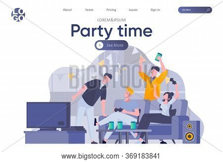 Party Time Landing Page With Header. Happy Friends Having Fun, Talking And Drinking, Playing Video G