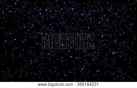 Star Sky. Space Stars Background. Glitter Particles. Vector Illustration. Night Sky With Blue Stars.