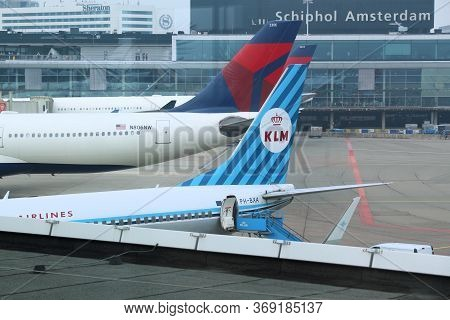 Amsterdam, Netherlands - July 11, 2017: Klm And Delta Airlines Aircraft At Schiphol Airport In Amste