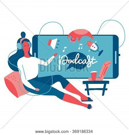 Podcast Listening Concept. Webinar, Online Training, Tutorial Podcast. Young Female Listening To Pod
