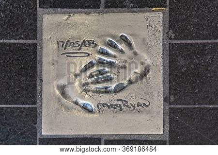 Cannes, France - June 12, 2019 : Handprints Of Celebrities. The Imprint Of The Hand Of A Famous Amer