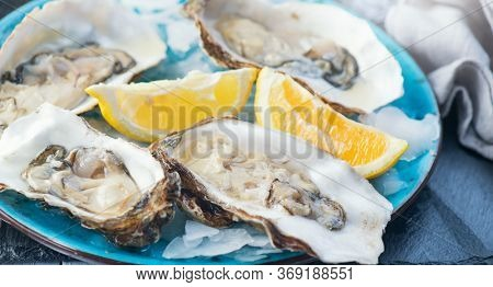 Oysters close-up on blue plate, served table with fresh oysters, lemon and ice. Healthy sea food. Fresh Oyster dinner in restaurant. Gourmet food.