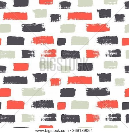Dash Grunge Vector Seamless Pattern. Hand Drawn Vertical Brush Strokes Texture. Colorful Painted Lin