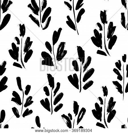 Leaves And Branches Vector Seamless Pattern. Organic Motif, Herbs Element Painted With A Brush. Abst