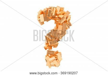Question Mark From Golden Ingots. Financial Question Concept, 3d Rendering Isolated On White Backgro