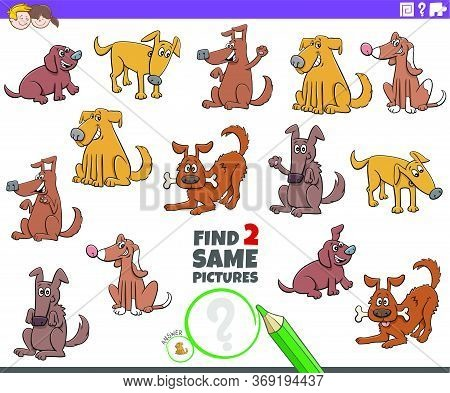 Cartoon Illustration Of Finding Two Same Pictures Educational Task For Children With Funny Dogs Anim