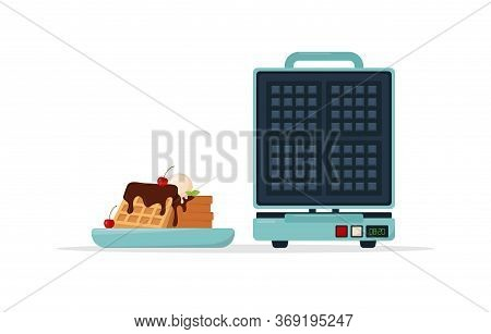 Waffle Maker And Plate Of Belgian Waffles With Chocolate Topping And Cherry. Vector Illustration