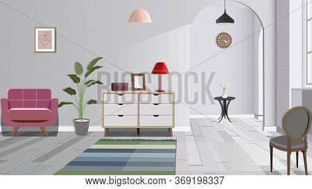 Illustration Of A Room With Chair, Lamp And Commode. Interior Of The Room With Furniture. Vector Ill