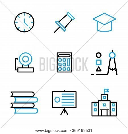 Education Icon Set Include Clock, School, Time, Watch, Attachment, Pin, Push, Cap, Graduate, Mortarb