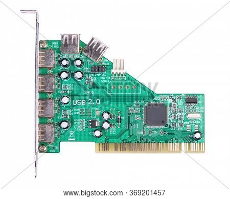 USB PCI controller card isolated on white background