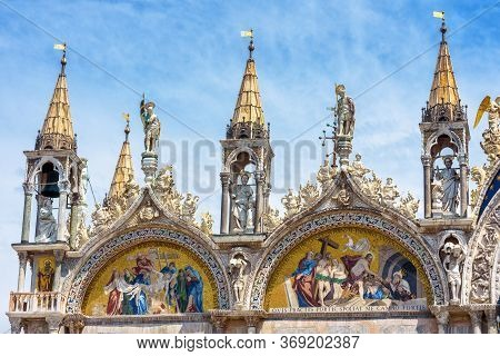 St Mark`s Basilica Or San Marco Close-up, Venice, Italy. It Is Top Landmark In Venice. Beautiful Chr