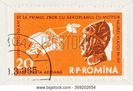 Seattle Washington - May 27, 2020:   A Vlaicu Ii Stamp Commemorating 50th Anniversary Of First Motor